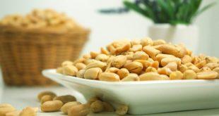 amendoim descascado dentro de um prato branco, em cima da mesa