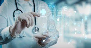 médico selecionando botões invisíveis representando inovações como prótese