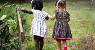 meninas negras brincando de mãos dadas, de costas