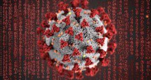 Representação gráfica do vírus causador da Covid-19, que pode causar dor crônica e gerar a necessidade de reabilitação após a internação
